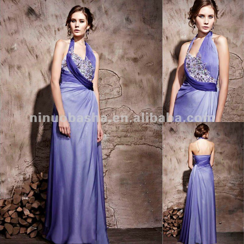 NY-2529 Celebrity Beautiful Rhinestones Long Halter Formal Evening Dress