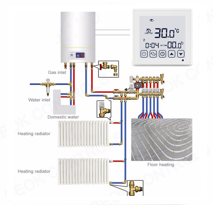 Flush mount wall hung gas boiler battery thermostat with 5+2 days programmable