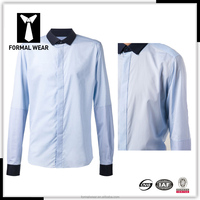 High end blue color contrasted collar cuff latest shirt designs for men