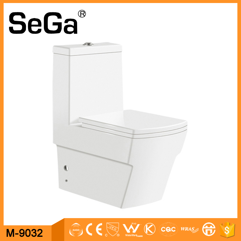 M-9032 China Bathroom Square Washdown One-Piece Toilet Ceramic Floor Mounted WC Closet