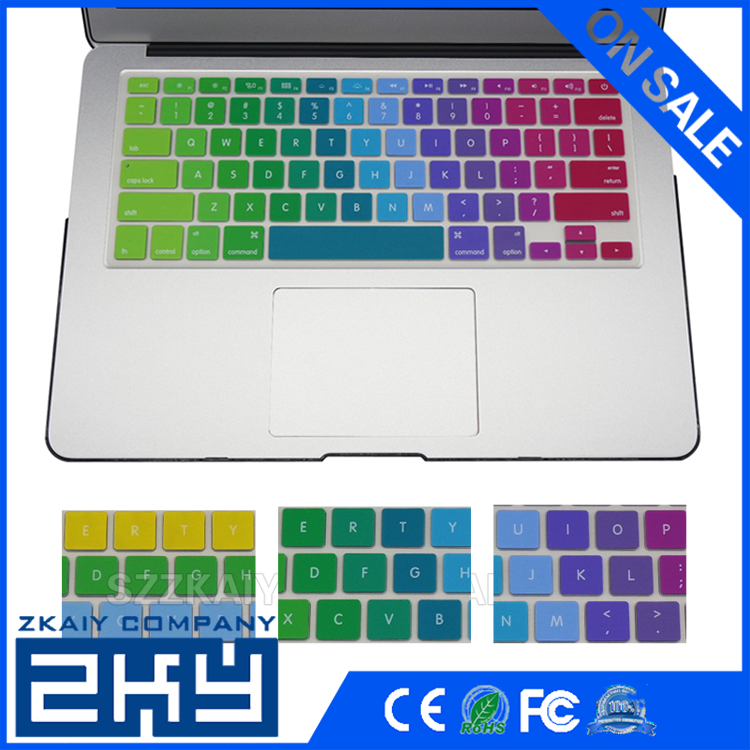 "Rainbow Series Wireless Silicone Keyboard Cover for Apple Laptop Pro 13"" 15"" 17"" with or without Retina Display and Air 13"""