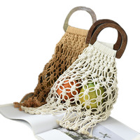 New Wooden Handle Portable Nets Straw Bag Cotton Rope Hand - Woven Bag