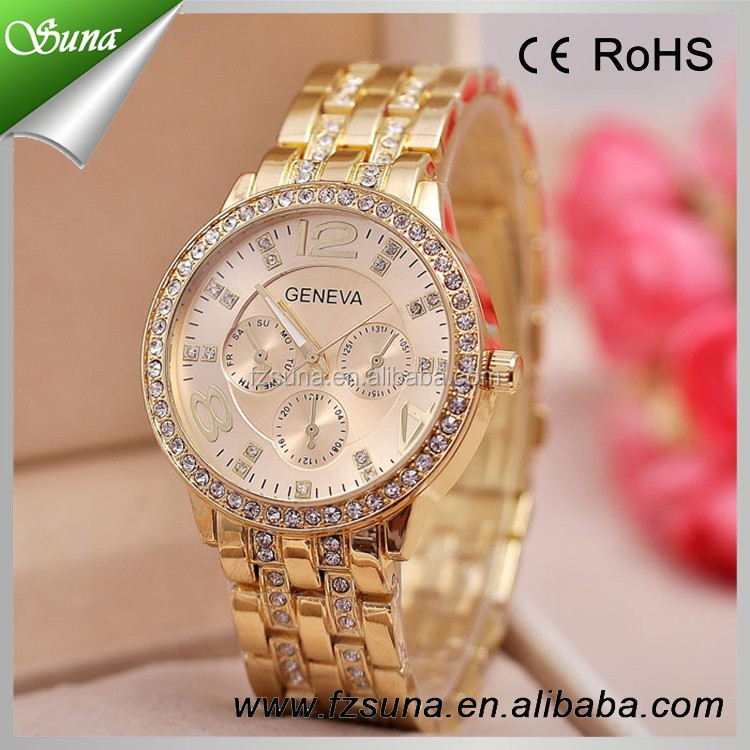 New Product Alloy Gold Case Fancy Rhinestone Wrist Watches Ladies Casual Analog Geneva Watch