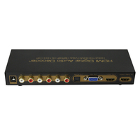 Digital Audio HDMI decoder to HDMI+VGA+SPDIF+5.1CH+HP HDMI signal splitter converter with DC power