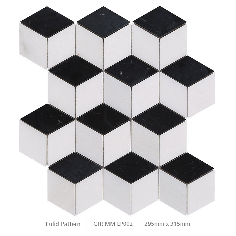 Polished black and white cube 3d bathroom wall marble for Carrelage hexagonal noir