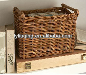 Hot wicker storage basket for book/newspaper