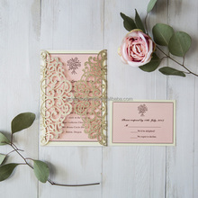 2017 Modern Elegant Gold Glitter Laser Cut Wedding Invitations