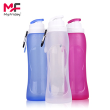 Factory Directly Eco-Friendly Silicone Foldable Sport Water Bottles with FDA/LFGB Approved