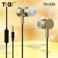 Cheap fashion noise cancelling in-ear earphones / earbuds / headphones with in-line mic for smart phones TB-I329