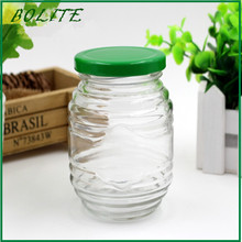 300ml round clear glass jar for food storage with metal lid whosale