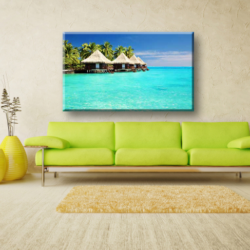 Coconut trees and sea natural scenery canvas art painting for living room