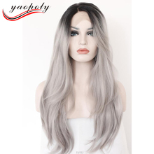 European hair Ombre Grey Wig Synthetic Lace Front Glueless Long Natural Black 1B/Gray Heat Resistant Hair Wigs