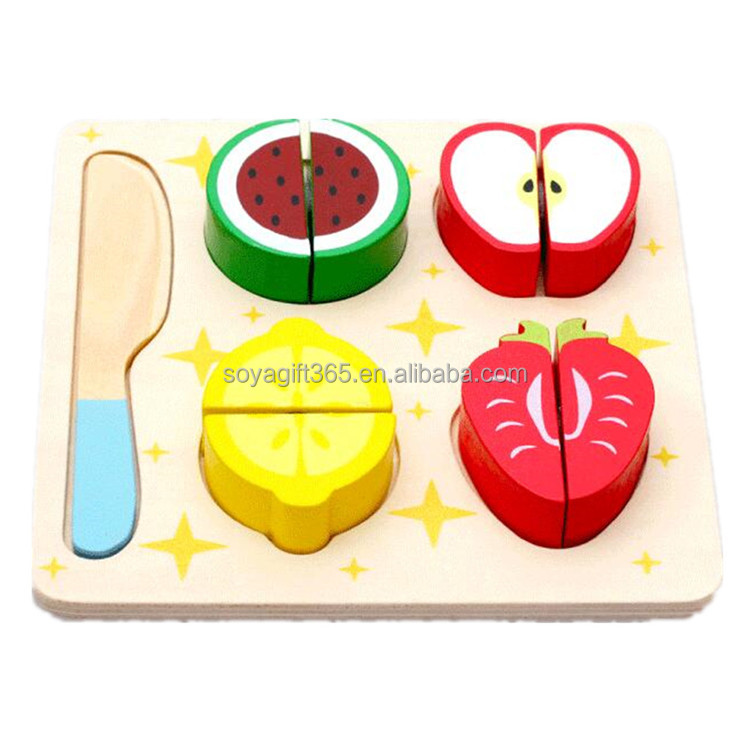 Wooden Toys Multifunctional Fruit Puzzle wooden Apple Cut the fruit game