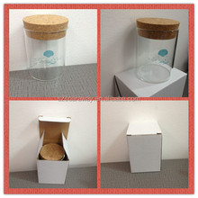 Customized design glass jar with logo on the cork top as lid