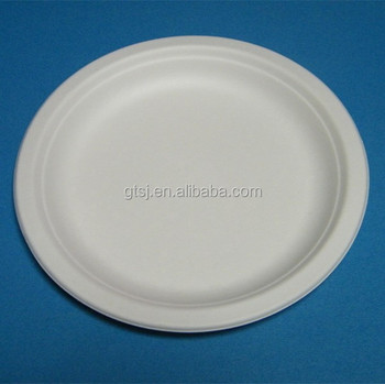 biodegradable disposable bagasse 7inch round paper plate