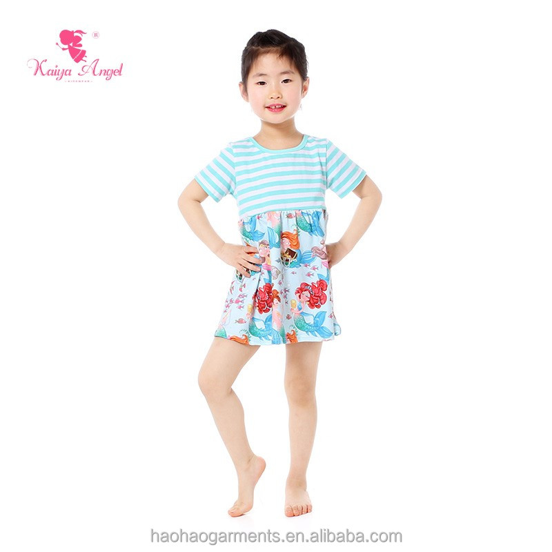 Aqua And White Stripe Short Sleeve Baby Girls Graceful One Piece Dresses