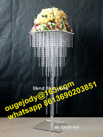 Tall sqaure crystal wedding table decorations/Clear hanging crystal centerpieces