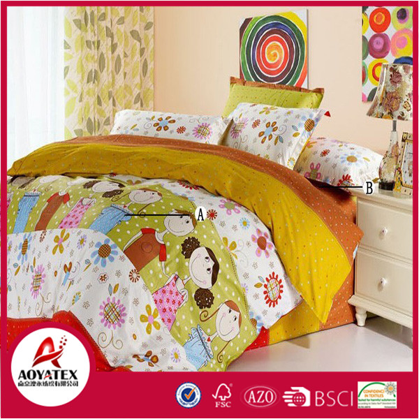 Happy kid with sunflower patten high quality,85gsm 100% polyester king size bedding set