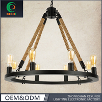 New round Design Retro big glass lighting lamps Chandelier with Hemp Rope