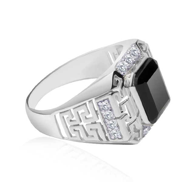 stylish mens diamond ring design Cool smart design 18k white gold pave setting sapphire gift ring