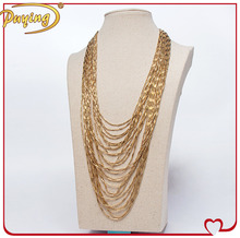 Fashion 18k gold multilayer chain necklace designs fake gold chains for women