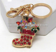 Gold Plated/Colorful Cheap Crystal/Christmas Sock/Metal Pendant/Key Rings