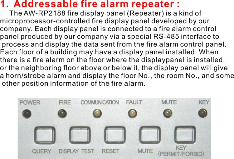Addressable fire alarm repeater