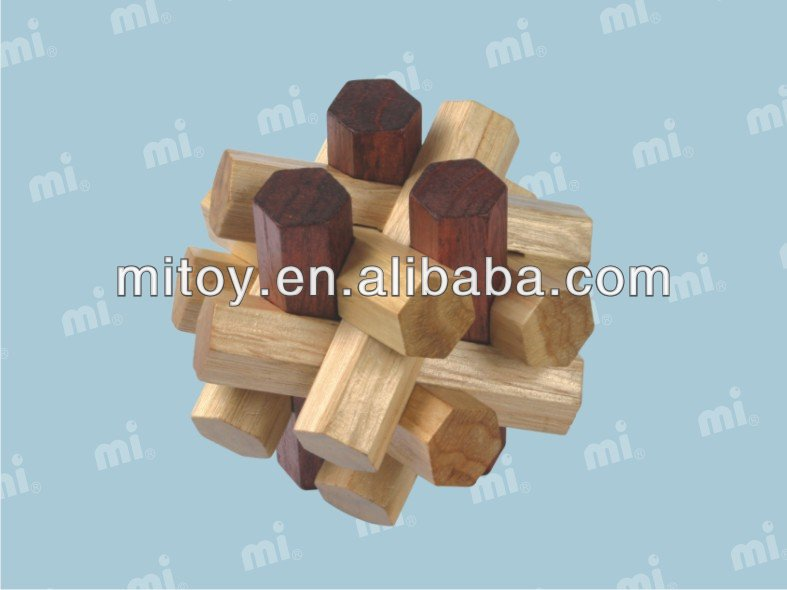 iq wooden cube brain puzzle toy bamboo