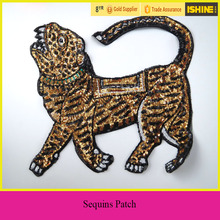 Garment Accessory Sequins Patches Gold Tiger Embroidery Sew on Shiny Sequins Applique Patches