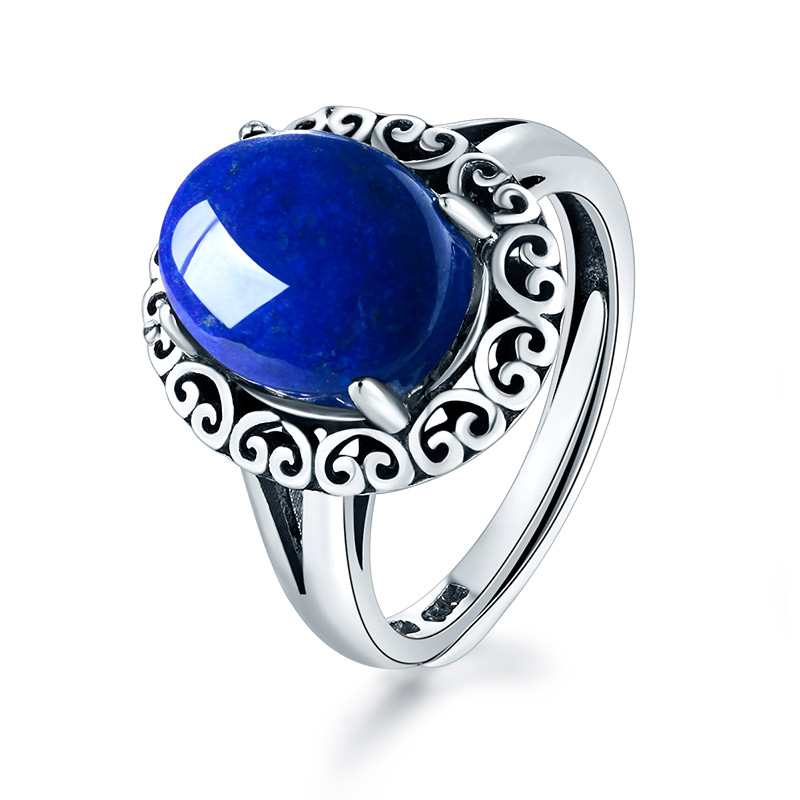 lapis lazuli sterling silver ring factory price gemstones jewelry