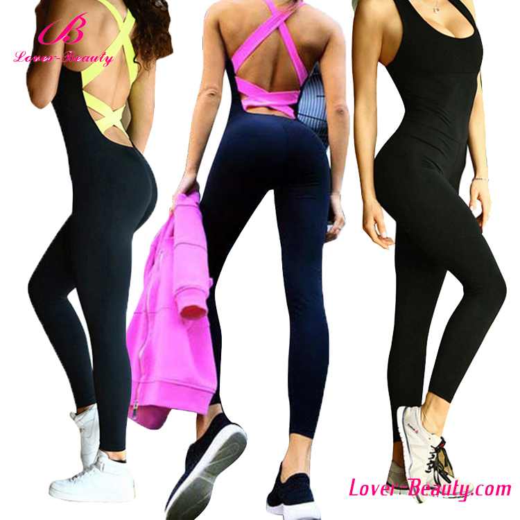 Stretchy Bandage Crisscross Sports Tight Black Sexy Jumpsuit