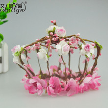 Custom Design Cheap Tall Pageant Fabbric/Paper Crown Tiara