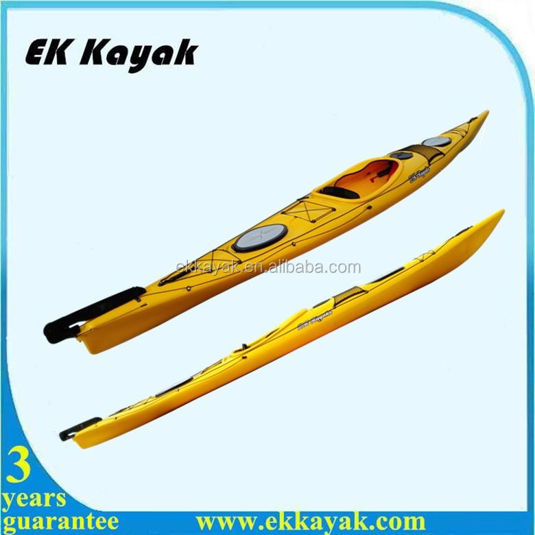 Single sit in sea fishing kayak with foot pedal and rudder for Fishing kayak with foot pedals
