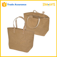 China Supplier Wholesale Cheap Zippered Jute Shopping Bag With Leather Handles