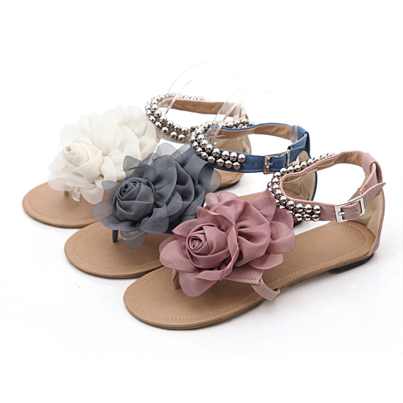Bohemia Women Sandals 2015 Big Size 34-43 Summer Sandals Female Beaded Flower FLat Flip-flop flats Women's Shoes Fashion Shoes