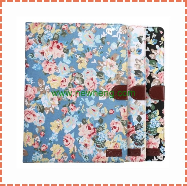 Wholesale Flower images wallet flip PU Leather Tablet Covers Case for iPad Pro