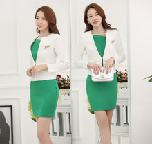 Juqian Ladies Coat Dress Suits Women Winter White Dress Suit