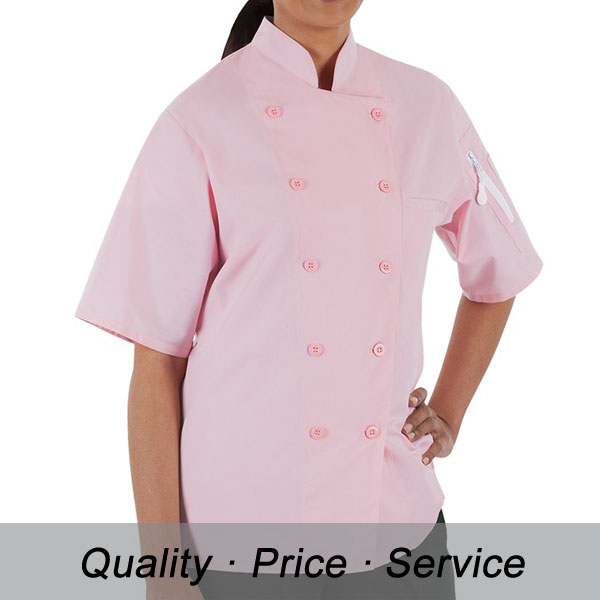 Pink Cotton French Chef Uniform Shirts For Female