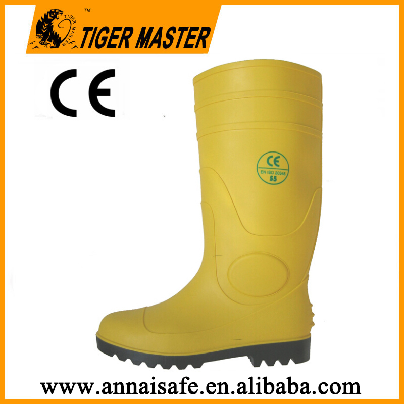 Yellow wellington working boots, CE standard steel toe pvc boots