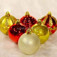 2017 High Quality 6cm Gold Red Plastic Decorate Handmade Christmas Ball for Tree