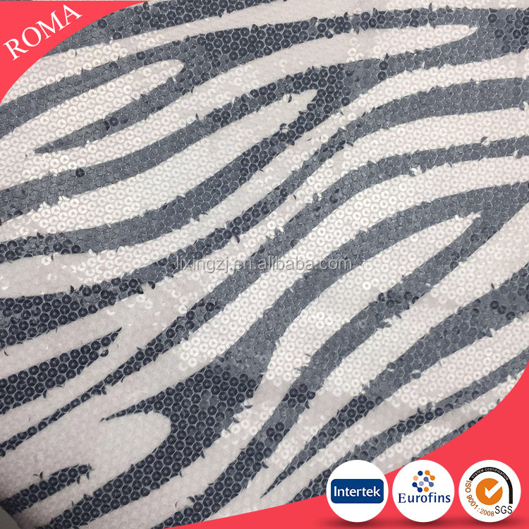 Zebra stripe design sequin fabrics for skirts