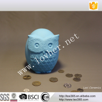 Blue color owl shape lovely decorative money box money bank