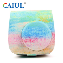 Caiul watercolor PU leather lady fashion camera bag for fujifilm instax mini 8/8+/9 instant camera