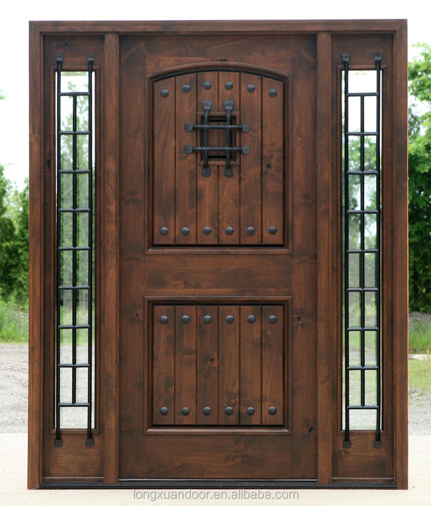 Wood wrought iron door used exterior wood door front iron for Order front door