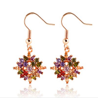 New Arrival 18k Gold Flower Hook Earrings with Colorful Zircon Crystal Women Wedding Jewelry