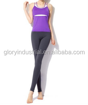 Purple Women 's Aerobics Pant Suit Yoga Shirts Body Building Sexy Clothing