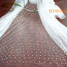 Bridal heavy bridal wedding french lace beaded mesh fabric
