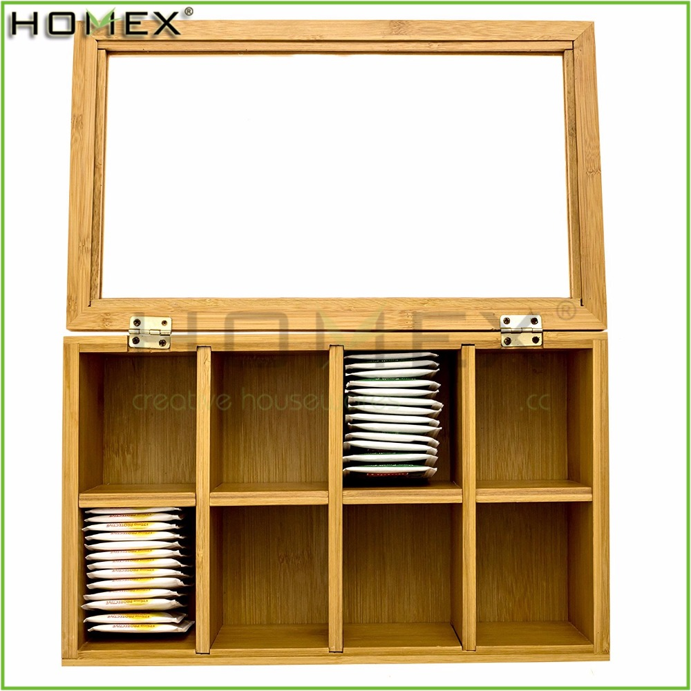 8 Compartment Tea Bag Storage Box with Acrylic/Tea Box Bamboo Caddy/Homex_FSC/BSCI Factory