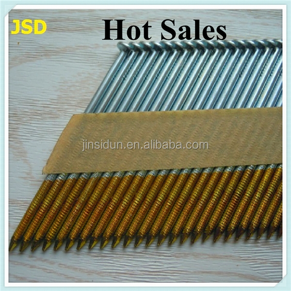 HIgh quality Hot Dipped Galvanized Ring Shank 34 Degree Flat Hand Paper Strip Framing Nails---made in China
