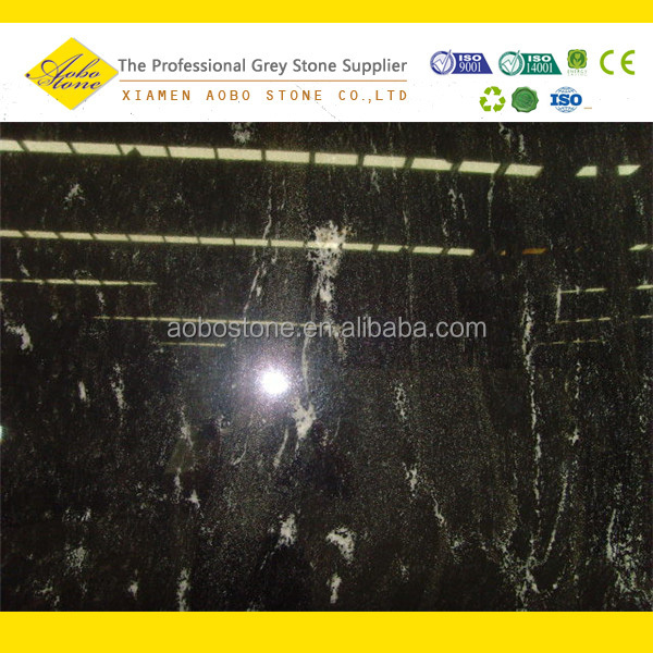 Highly polished Imported standard size Black via Lactea Granite slabs